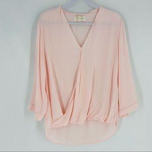 YUMI KIM Pastel Pink Surplice Blouse Top